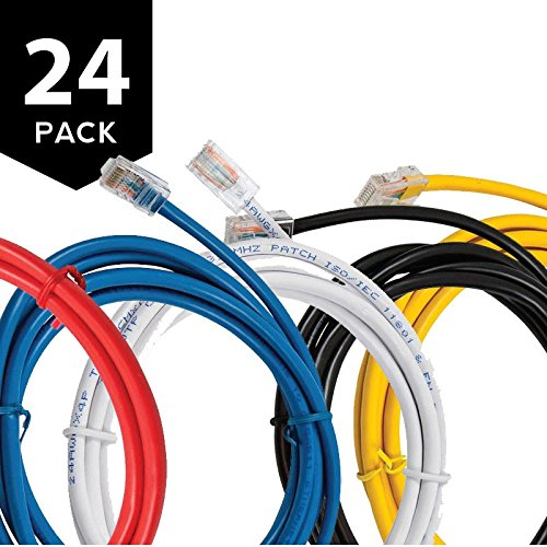 Buhbo 3Ft Cat6 UTP Ethernet Network Non Booted Cable (24-Pack), Multi-Color Black, Blue, Green, Red, Yellow, White (6 3 Mc Cable Price Per Foot)