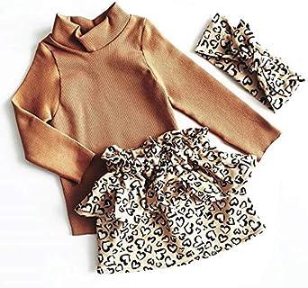 Baby Girl Outfit Long Sleeve Turtleneck Shirt Leopard Skirt Bowknot Headband Kids 3Pcs Toddler Clothes Set