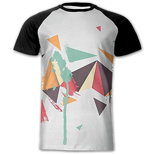 (Newfood Ss Trippy Geometric Shapes with Dimension Triangles Futuristic Grunge Men's Short Sleeve Raglan T L)