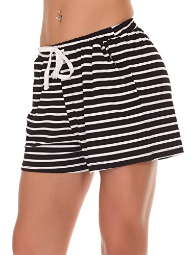 Head Boxer Shorts (Fayejove Women's Cotton Striped Pajama Shorts)