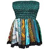 Mogul Interior Women's Colorful Mini Skirt Recycled Sari Ruched Waist Flirty Skater Skirts OneSize