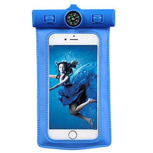 Jinxin Wasserdichte Handytasche, PVC wasserdichte Handytasche, Handytasche mit Kompass, Geeignet für iPhone 6s Pius, Huawei Mate s, etc. Alle 6 Zoll-Handys Blau
