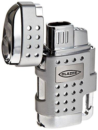 Blazer Evo Butane Refillable  Torch Lighter, Silver (Silver Double Torch)