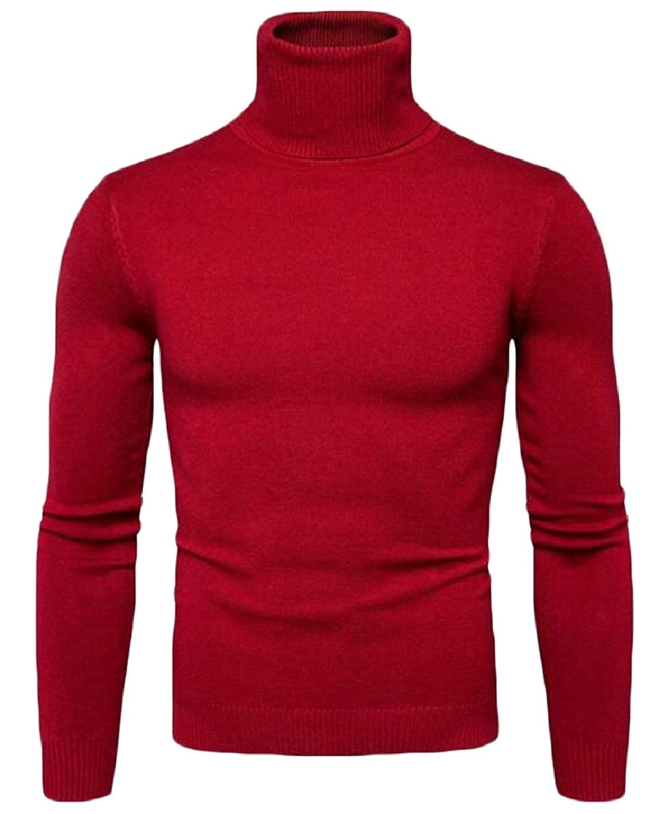 FLCH+YIGE Mens Slim Fit Turtleneck Sweater Casual Twisted Knitted Sweaters