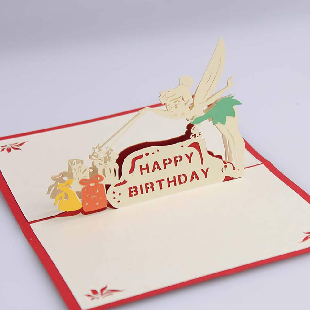 ZX101-Creative Fairy Happy Birthday 3D Pop Up Greeting Card Paper Sculpture Craft Gift - Red