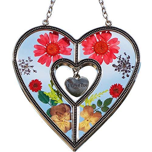 Valentine Suncatcher - I Love You Suncatchers Saint Valentine`s Day Love Heart Love Suncatchers with Pressed Flower Heart - Heart Suncatcher - Love Gifts Gift for Love's Day