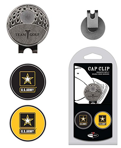 Team Golf Military Army Golf Cap Clip with 2 Removable Double-Sided Enamel Magnetic Ball Markers, Attaches Easily to Hats