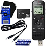 Sony ICD-PX470 Stereo Digital Voice Recorder with with Built-in 4GB & Direct USB + 32GB Micro SDHC Memory Card + Auxiliary Cable + AAA Batteries + HeroFiber Ultra Gentle Cleaning Cloth