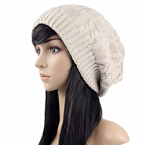 - Belsen Women Thick Slouchy Knit Winter Hat Oversized Baggy Long Beanie Cap (Off-White)