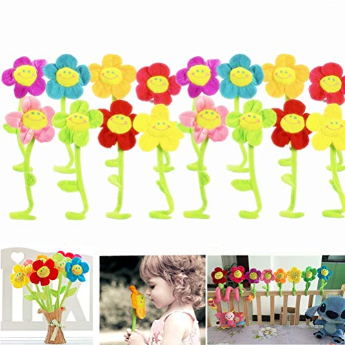 - SUSHAFEN 16Pcs Artificial Plush Sunflower Daisy Flower Toy Bendable Curtain Buckle Tiebacks Birthday Wedding Party Gift Decor Fairy Wands Stick Performance Props Novelty School Prize Gifts