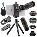 4 in 1 Cell Phone Camera Lenses Kit, 18X Telescopic Zoom Lens/4K...