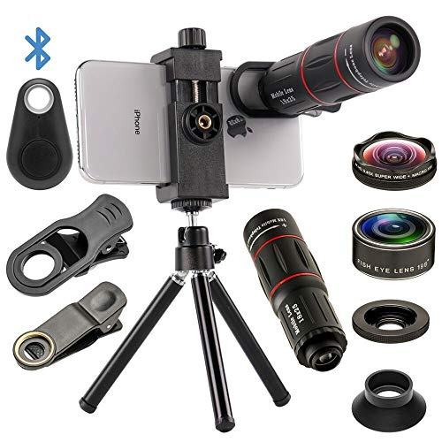 4 in 1 Cell Phone Camera Lenses Kit, 18X Telescopic Zoom Lens/4K HD Super Wide Angle/Macro/Fisheye Lens/Tripod/Camera Shutter Compatible with iPhone Xs Max 8 7 6 Plus, Samsung HTC Moto and More