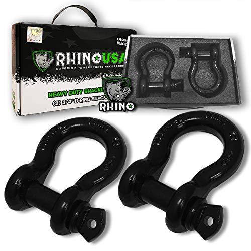 """Rhino USA D Ring Shackle (2 Pack) 41,850lb Break Strength - 3/4"""" Shackle with 7/8 Pin for use with Tow Strap, Winch, Off-Road Jeep Truck Vehicle Recovery, Best Offroad Towing Accessories (Gloss)..."""