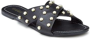 2b3e71ef6 Olivia Miller Women s Pearl Crisscross Slide Sandals