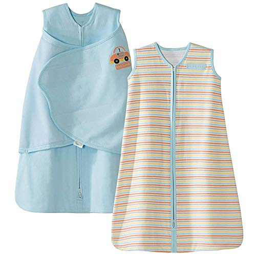 - HALO Sleepsack 100% Cotton Swaddle and Wearable Blanket Gift Set, Blue/Car Multi Stripe, 2 Piece