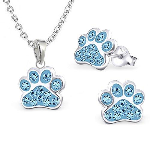 gh1a Azul Cristal Colgante de huellas de huellas de perro + cadena + Pendientes Plata 925niños Set