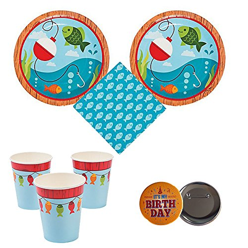 02 Little Fisherman Birthday Party Pack, 16 guests - plates, napkins, cups, Bonus Accessory -