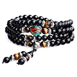 COAI Tiger Eye and Obsidian Malas Prayer Beads Bracelet