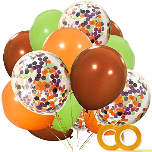 Woodland Party Decorations Balloons 40 Pack- 12 Inch Brown Orange Fruit Green Latex Balloons with Confetti Balloon for Baby Shower Woodland Creatures Party Supplies Forest Party -