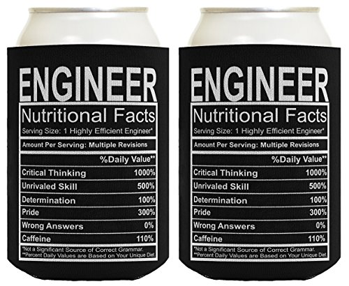 Engineering Gifts Engineer Nutritional Facts Engineer Gag Gifts Electrical Engineer Gifts 2 Pack Can Coolie Drink Coolers Coolies -
