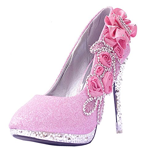 Getmorebeauty Women's Lace Flower Pearls Closed Toes Prom Wedding Shoes Pink
