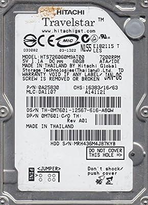"HITACHI 60 GB IDE 2.5/"" laptop Hard Drive Internal HTS726060M9AT00 7200 RPM HDD"