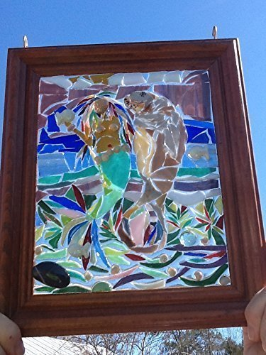 Mermaid Stained Glass Window Art Sun Catcher, Manattee