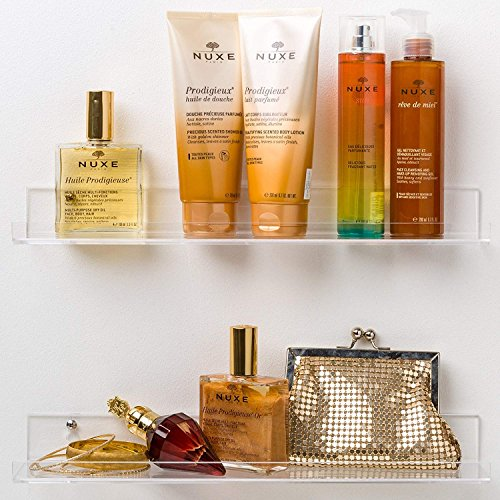 Acrylic Bathroom Shelves; Space Saving, Rustproof & Extra Strong, 15 x 3 inch Display Shelving (Set of 2) by Pretty Display - Easy to Wall (Bathroom Wall Storage)