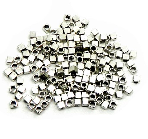 Rockin Beads Brand, 180 4x4mm Cube Antiqued Silver Beads Cast Zinc Metal Spacer Beads (Approx 2.5mm Hole) - Cast Metal Beads