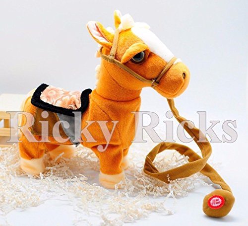 Pony Pull Toy (Brown Walking Horse Pony Musical Singing Toy Plush Doll Saddle Riding Electronic)