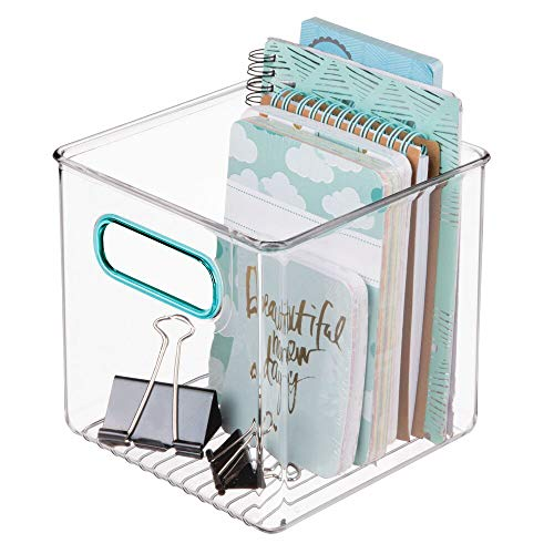 - mDesign Plastic Home, Office Storage Organizer Container with Handles for Cabinets, Drawers, Desks, Workspace - BPA Free - for Pens, Pencils, Highlighters, Notebooks - 6