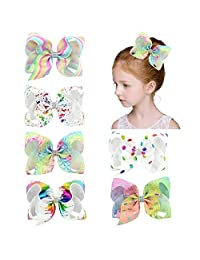 Hair Bows, Bow Hair, Shellvcase 6Pcs Hair Accessories for Girls Teens Gifts [6 Inch]