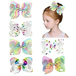 Girls Hair Bows, Bows Hair, Shellvcase 6Pcs Boutique Ribbon Hair Bows, Unicorn Hair Bow Hair Accessories For Girls Babies Toddlers Teens Gifts [6 Inch]