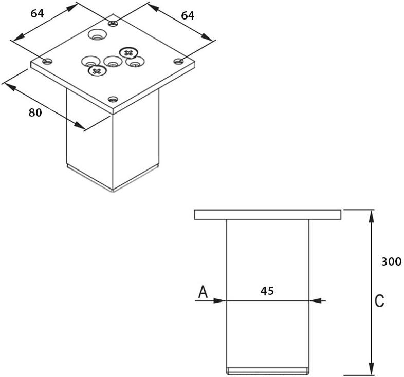 Sossai Aluminium Patas para mueblesExklusiv E4MF 4 piezas Altura 60mm Perfil cuadrado: 45 x 45 mm Tornillos incluidos Color: negro