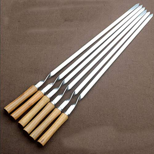 Skewers Stainless Steel Flat Barbecue Thickened, Beech Wood Handle Anti-scalding and Heat Insulation, Outdoor Barbecue Needle Barbecue 6 Sticks 55cm