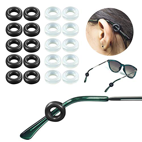 YR Soft Silicone Eyeglasses Temple Tips Sleeve Retainer, Comfort Anti-Slip Ear Cushions For Sunglasses 10 Pairs-Black & Clear