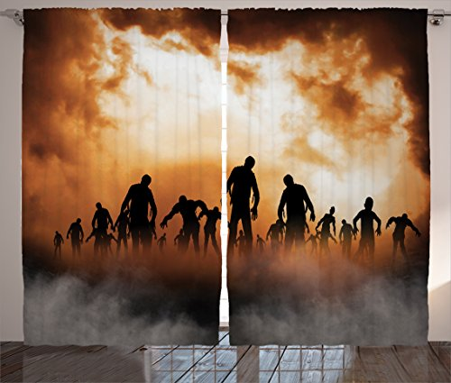 Ambesonne Halloween Decorations Curtains, Zombies Dead Men Body Walking in The Doom Mist at Dark Night Sky Haunted Decor, Living Room Bedroom Decor, 2 Panel Set, 108 W X 84 L Inches, Orange Black