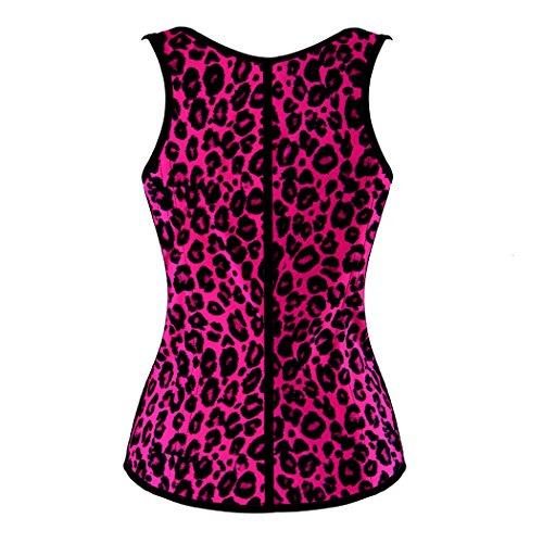 Rosfajiama Látex de cintura del corsé de Cincher de la talladora del cuerpo leopardo rosa