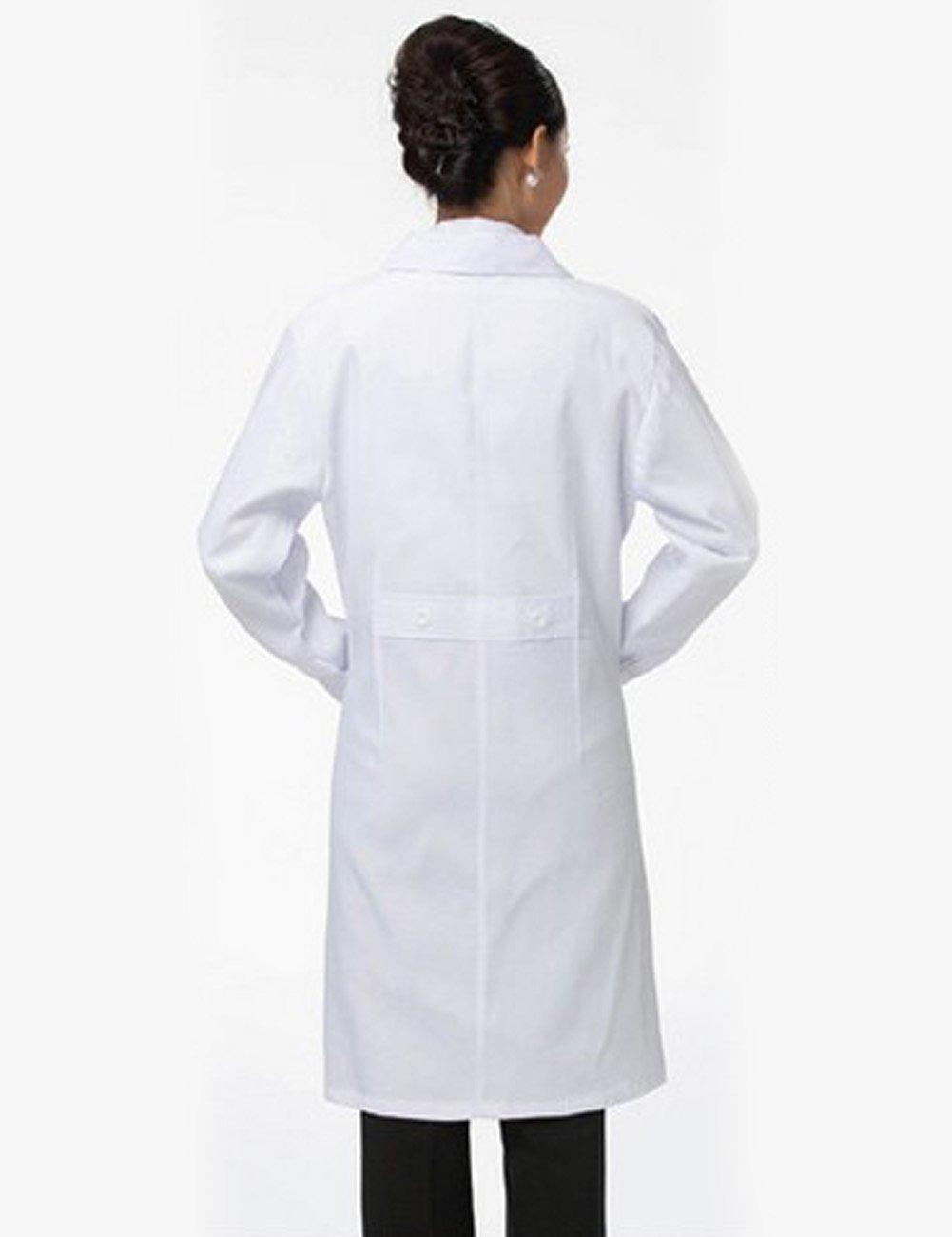 THEE Bata de Laboratorio Blanco Uniforme de Enfermera Sanitaria con Manga Larga Mujer S: Amazon.es: Amazon.es