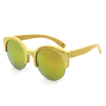 dc481ad2d7 Unisex Glasses Round Semi-Rimless Handmade Wood Bamboo Sunglasses Colored  Lens UV400 Protection for Men
