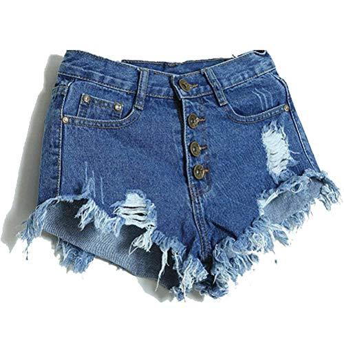 Solo Moda Mujeres Un Cintura Bolsillos Deshilachados Pantalones Pecho Cortos Con Vaqueros Las Alta Casuales Oscuro De Mezclilla Azul xw8Ig7q