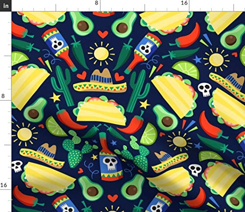 Spoonflower Taco and Burritos Fabric - Mexican Food Cactus Print Taco and Burritos Taco Food Mexican Cacti Hot Sauce by Laura May Designs Printed on Basic Cotton Ultra Fabric by The Yard