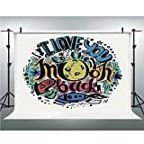Photo Video Photography Studio Fabric Backdrop Background Screen,I Love You,10x10ft,Grunge Retro Colorful Crazy Composition Rocket Figure Declaration of Love Phrase