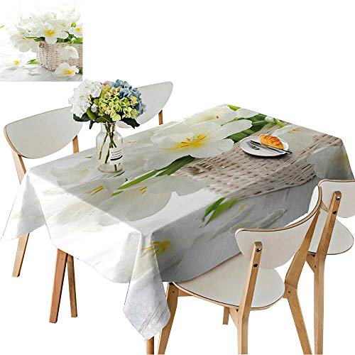 - UHOO2018 Printed Fabric Tablecloth Square/Rectangle White Tulips in a Basket on The Wooden Table Wedding Party Restaurant,52 x 108inch