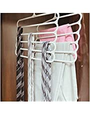Plastic Multilayer hangers for closet organization light grey colour 5 layer clothes hanger for pants, scarves, tie or scarves