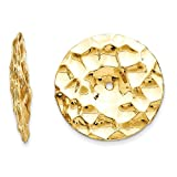 14kt Yellow Gold Polished Hammered Disc Earring Jackets
