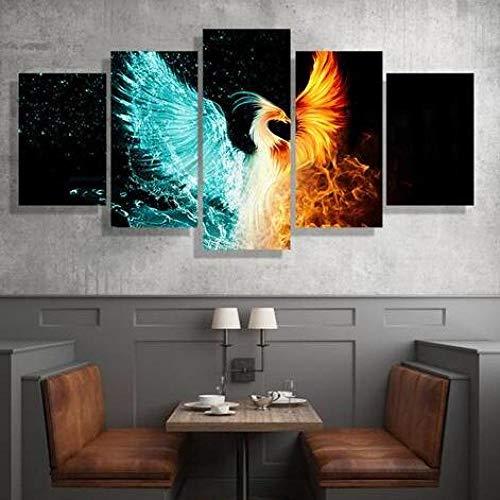 aoyuff 5 Canvas Piece Painting Firebird Phoenix Wall Art Picture Modern Home Decoration Living Room Or Bedroom Canvas Print Painting Wall Picture Frameless,20x35 20x45 20x55cm (Phoenix Restaurant Furniture)