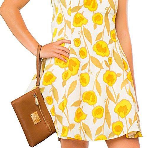 901161ffe9391 Robert Matthew Fashion Designer Luxury Sofia 24k Gold Dark Brown Leather  Clutch Purse