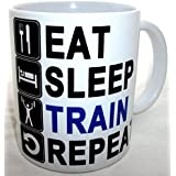 Eat Sleep Train Repeat Novelty Ceramic Coffee Tea Mug by S.Pottery