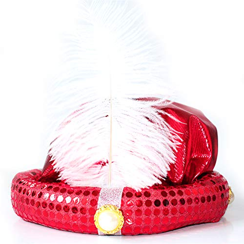 Naisidier Hat with Feather Glitter Color Performance Hat for Halloween Costume Party(Red)